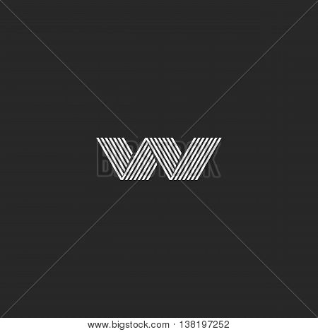 W Logo Hipster Monogram, Abstract Lines Shape, Emblem Business Card Graphic Design Decoration Elemen