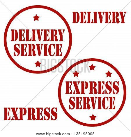 Set of stamps with text Delivery Service and Express Service,vector illustration