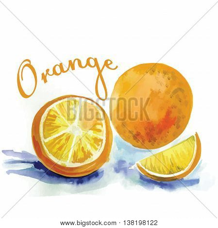 watercolor label with orange and the words
