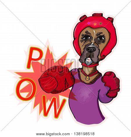 Dog-athlete fulfills blows. Illustration vector. Pow boxing