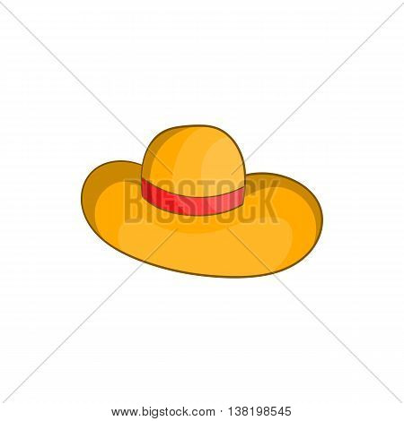 Womens beach hat icon in cartoon style isolated on white background. Headdress symbol