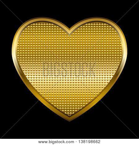 Vector illustration of a golden heart on black background