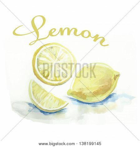 watercolor label with lemon and the words