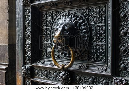 Old door with lion door knocker of Cologne Cathedral
