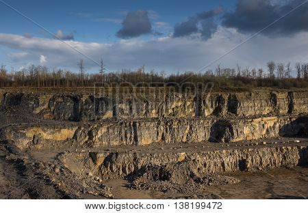 The landscape in a quarry . .