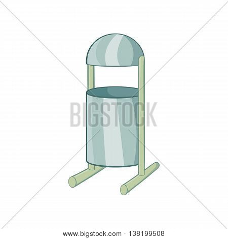 Trash can on legs icon in cartoon style isolated on white background. Garbage symbol