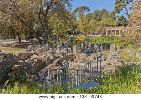 NICE FRANCE - APRIL 11 2016: Ruins of the Cathedral (circa 15th c.) in Castle Hill in Nice France. Located on the grounds of former medieval castle