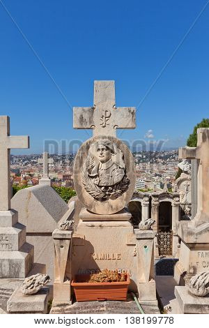 NICE FRANCE - APRIL 11 2016: Tomb of Raoul Cottalorda on Chateau Cemetery in Nice France. Raoul Cottalorda (1895-1918) was a French hero of WWI participator of the Battle of the Somme