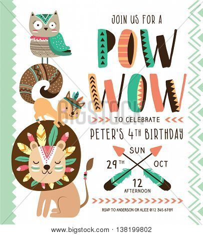 Kids birthday party invitation card with cartoon animals