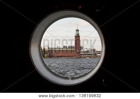 City Hall in Stockholm, Scandinavia, Sweden, Europe view from the porthole of the ship