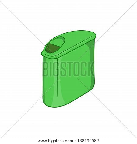 Trash can with lid icon in cartoon style isolated on white background. Garbage symbol