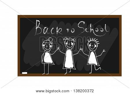 The children draw chalk on a blackboard with Back to school lettering. Happy and fun children. Hand draw. Doodle hand drawn sketch scribble. Vector illustration