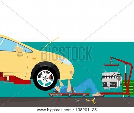 Inside the garage, the mechanic lying under the car doing repairs. Car repair. Vector illustration