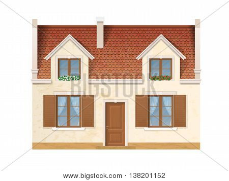 The historic facade of the European house. Windows decorated with flowers. Wooden windows and doors and a red tile roof. Vector detailed architectural illustration.