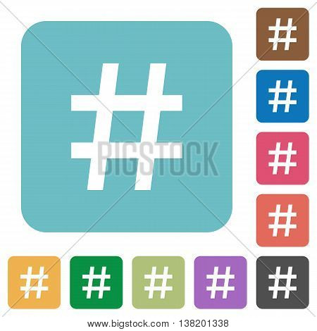 Flat hashtag icons on rounded square color backgrounds.