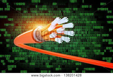 optical fiber and binary code background. 3D  illustration