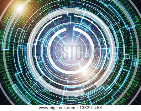 futuristic glowing binary code background. 3D illustration
