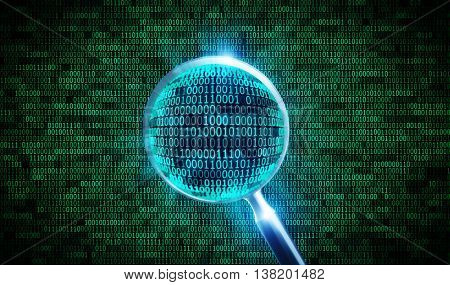 green binary code and 3d magnifier. 3D illustration