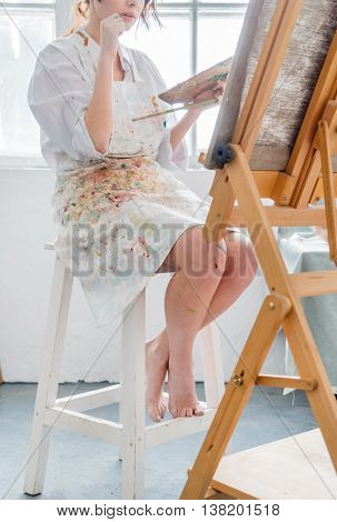 painter in her studio