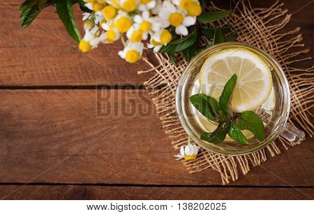 Chamomile Tea With Lemon And Mint. Herbal Tea. Dietary Menu. Proper Nutrition. Top View