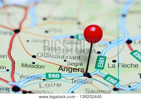 Angers pinned on a map of France