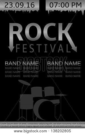 Rock festival banner. Live music show, Vector illustration
