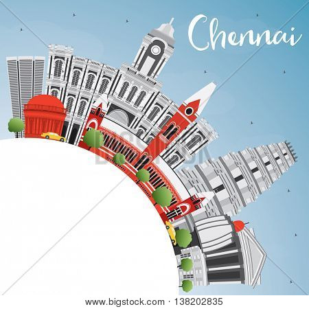 Chennai Skyline with Gray Landmarks, Blue Sky and Copy Space. Vector Illustration. Business Travel and Tourism Concept with Historic Buildings. Image for Presentation Banner Placard and Web Site.