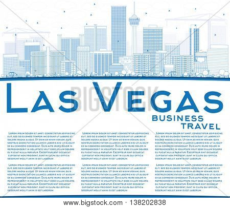 Outline Las Vegas Skyline with Blue Buildings and Copy Space. Vector Illustration. Business Travel and Tourism Concept with Modern Buildings. Image for Presentation Banner Placard and Web Site.