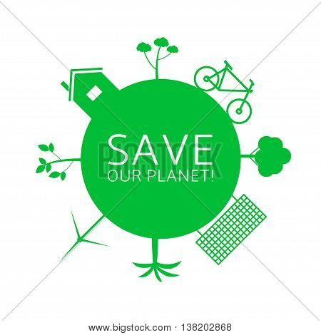 Energy saving technologies. Green earth. Green bicycle. Green house. Solar energy system. Wind turbine