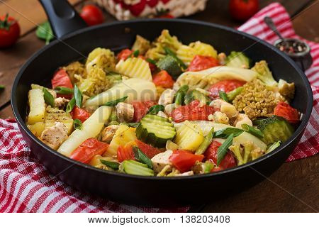 Dietary Menu. Steamed Vegetables With Chicken Fillet In Pan On The Wooden Background.