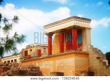 view of ancient ruines of famouse Knossos palace at Crete, Greece, toned