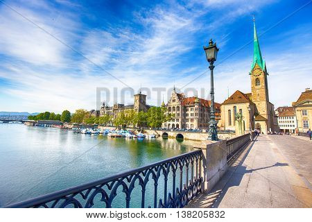 View of historic Zurich city center with famous Fraumunster Church Limmat river and Zurich lake Zurich Switzerland