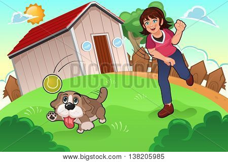 A vector illustration of little girl playing with her dog in the park
