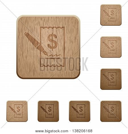 Set of carved wooden Cheque signing buttons in 8 variations.