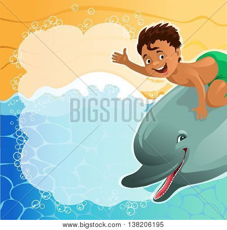 Cartoon. A boy riding a dolphin with speech bubbles happily waving at the beach background. The file is saved in the version AI10 EPS. This image contains transparency.