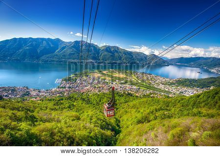 LOCARNO SWITZERLAND - May 15 2016 - View to Locarno city from Cardada mountain Swiss Alps Switzerland