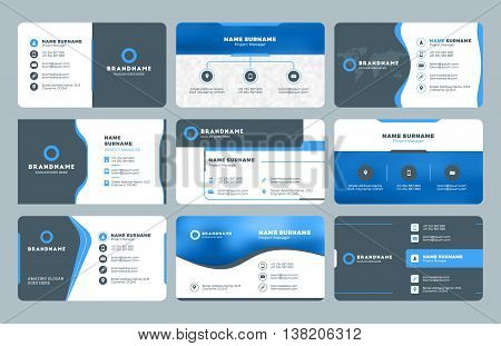 Set Of Modern Business Card Print Templates. Personal Visiting Card With Company Logo. Clean Flat De