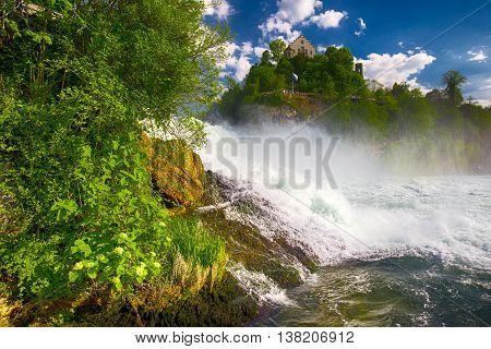 View To Rhine Falls (rheinfalls), The Largest Plain Waterfall In Europe. It Is Located Near Schaffha