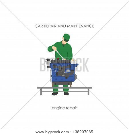 Mechanic in overalls repairing car engine. Vector illustration
