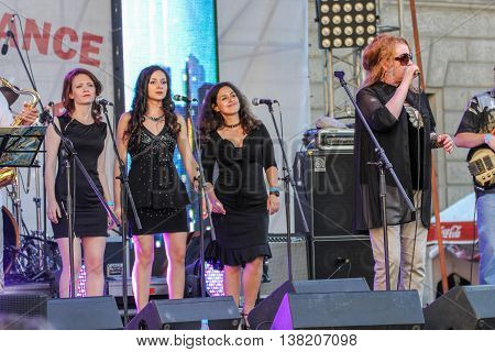 St. Petersburg, Russia - 2 July, The soloist of the group bek vocals, 2 July, 2016. Annual international festival of jazz and blues in St. Petersburg.