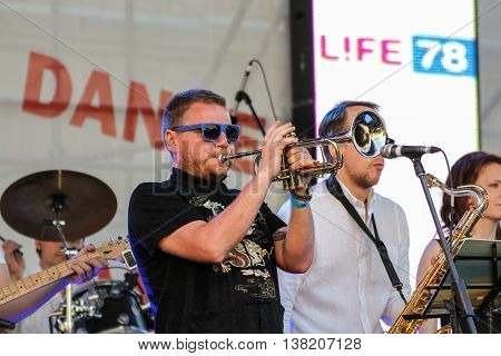 St. Petersburg, Russia - 2 July, Musician playing trumpet, 2 July, 2016. Annual international festival of jazz and blues in St. Petersburg.
