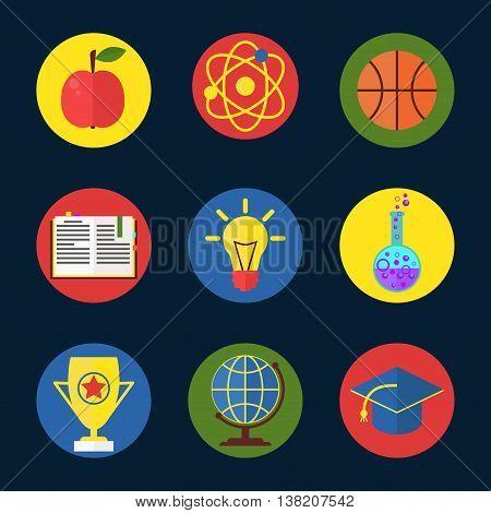 Education success school university vector icons flat symbols