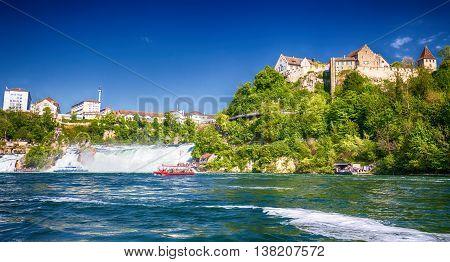 Schaffhausen, Switzerland - May 7, 2016 - View To Rhine Falls (rheinfalls), The Largest Plain Waterf