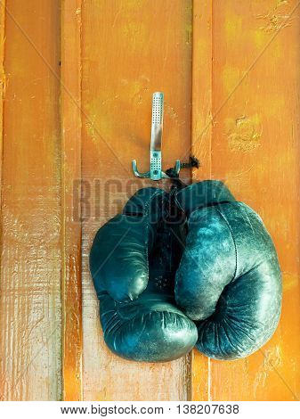 Boxing gloves hanging on brown wooden wall.