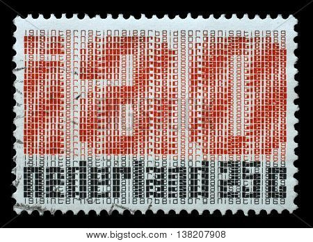 ZAGREB, CROATIA - JULY 03: Stamp printed in Netherlands honoring 50th Anniversaryes of IAO (Internationale Arbeitsorganisation - Labour Organization, ILO) circa 1969, on July 03, 2014, Zagreb, Croatia