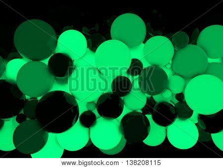 Abstract green Spheres Background.3D render glowing spheres.Futuristic background.