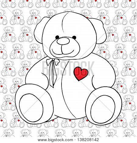 Cartoon lovely Teddy Bear toy monochrome seamless pattern vector