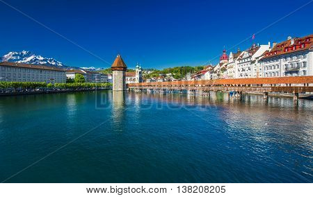 Lucerne, Switzerland - Mai 5, 2016 - Historic City Center Of Lucerne With Famous Chapel Bridge And L