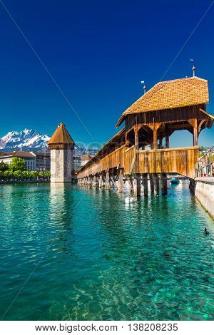 Historic City Center Of Lucerne With Famous Chapel Bridge And Lake Lucerne (vierwaldstatersee), Cant