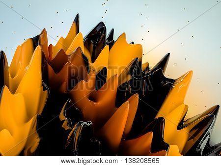 Abstract 3D rendering  liquid.A splash of colorful orange liquid closeup